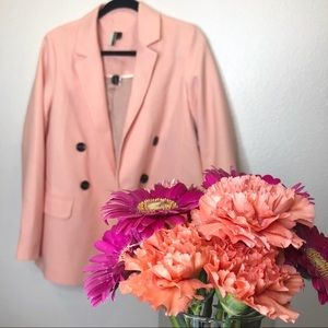 Topshop Double Breasted Peach/ Salmon Blazer